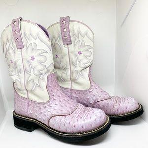 EUC - ARIAT - Purple Ostrich Leather Cowboy Boots